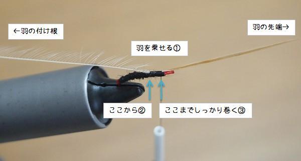 羽根を鈎に固定